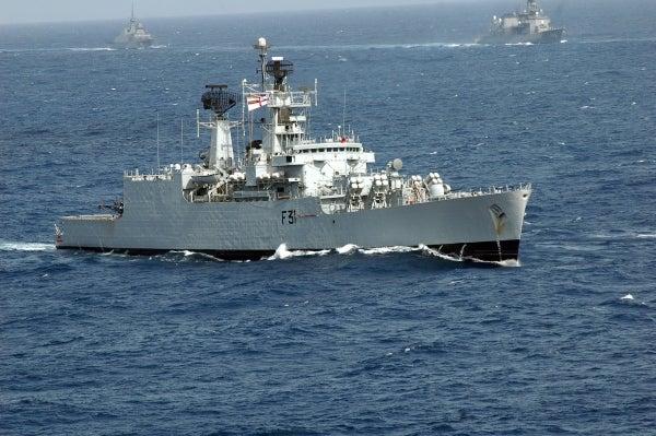 INS Brahmaputra (F31) at sea.