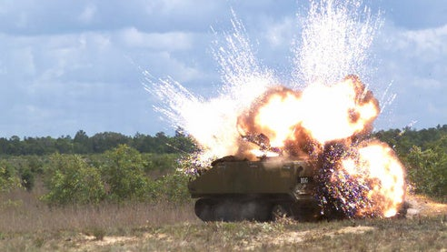 APKWS detonates an armoured personnel carrier using M282 warhead