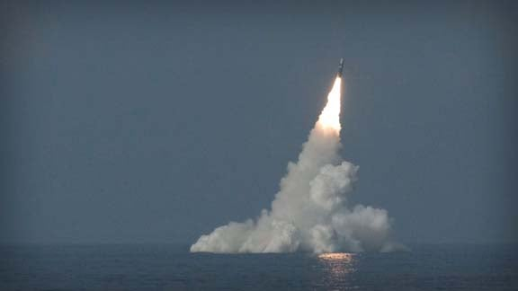 UK Royal Navy's Vanguard-class submarine launches missile