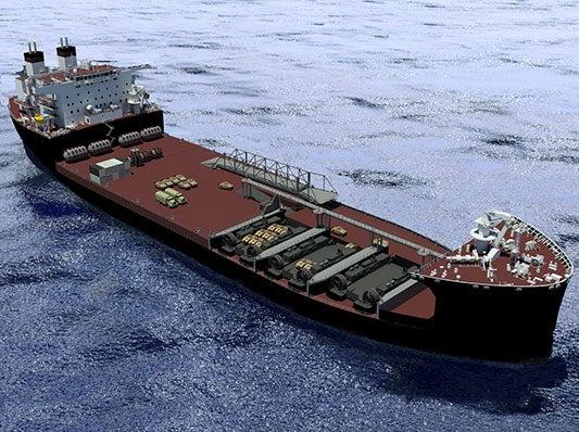 Artistic image of the US Navy's Mobile Landing Platform