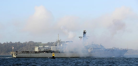 HMS Sutherland passed through the Plymouth