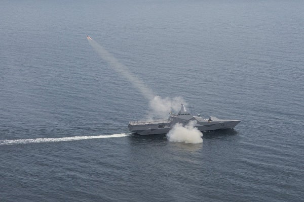 Bofors RBS 15 anti-ship missile lifts from HMS Visby