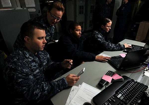 US Navy personnel assessing the computer networks security
