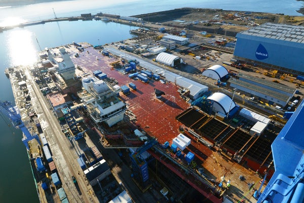 forward ramp section in place on the Queen Elizabeth