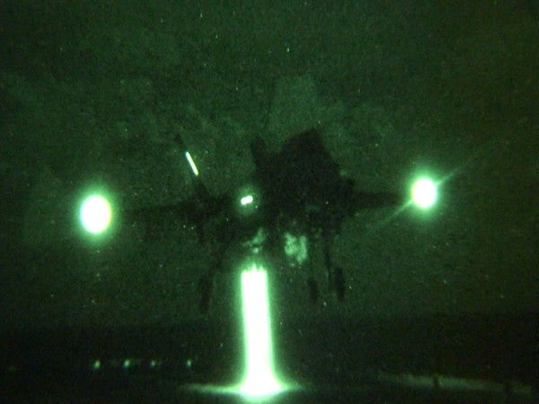 USMC's F-35B aircraft performing night landing