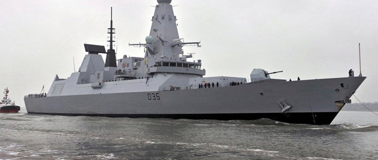 The UK Royal Navy's fourth Type 45 Daring-class anti-air warfare destroyer, HMS Dragon (D35)