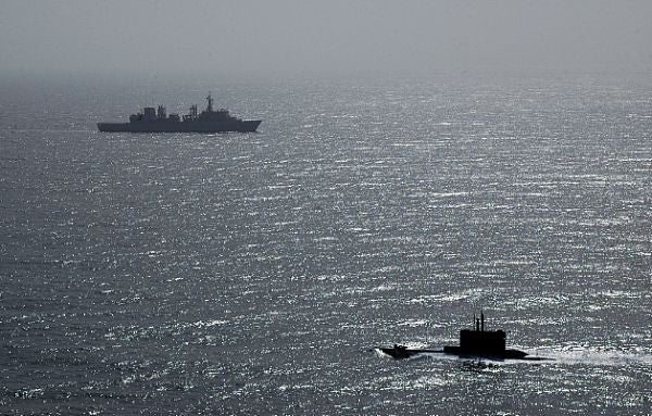Nato ship and Greek submarine HS Protefs (S 113)