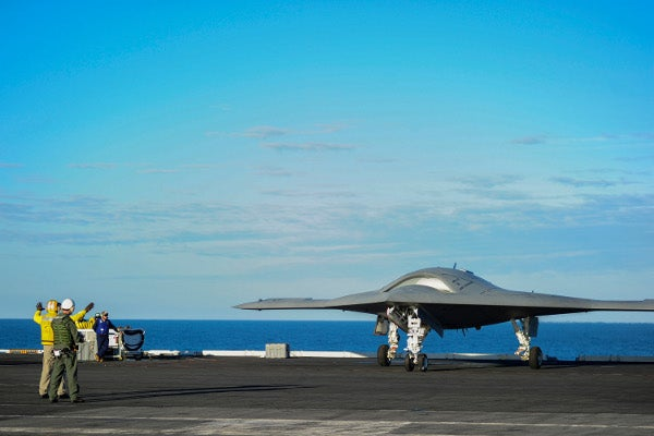 X-47B unmanned aircraft aboard the USS Harry S. Truman ship