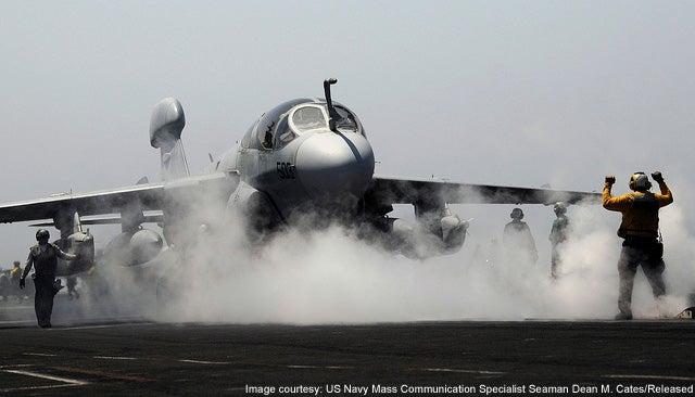 EA-6B Prowler tactical jamming aircraft.