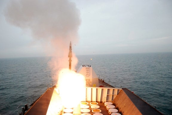 HMS Westminster launches a Seawolf missile