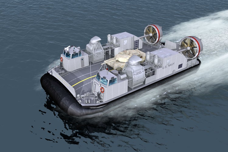 Ship-to-Shore Connector (SSC) hovercraft.