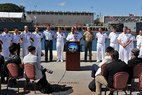 US Pacific Fleet commander Admiral Cecil Haney at a press conference
