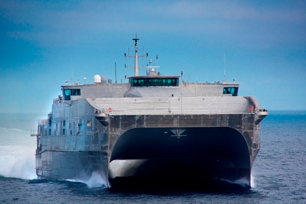 US Navy's first of ten joint high speed vessels (JHSVs), USNS Spearhead
