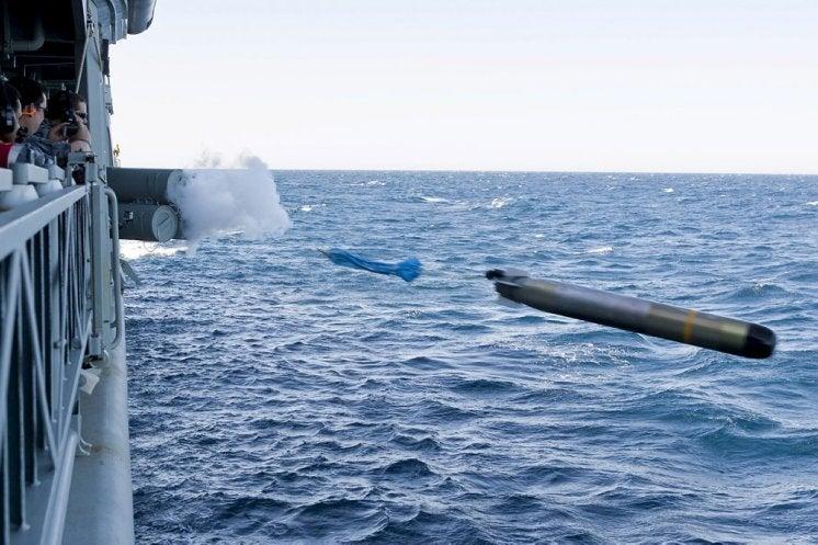 HMAS Stuart fires a MU90 torpedo